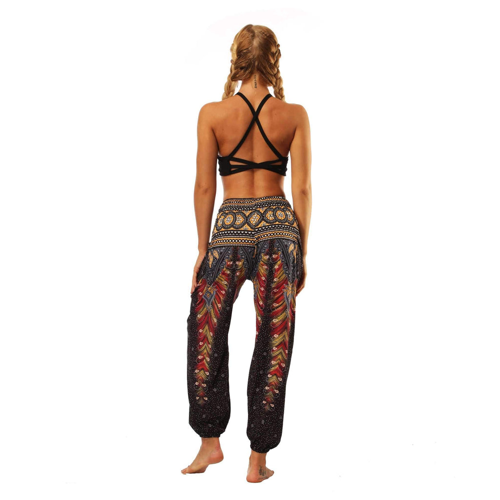 Vintage Peacock Feather Print Yoga Pants
