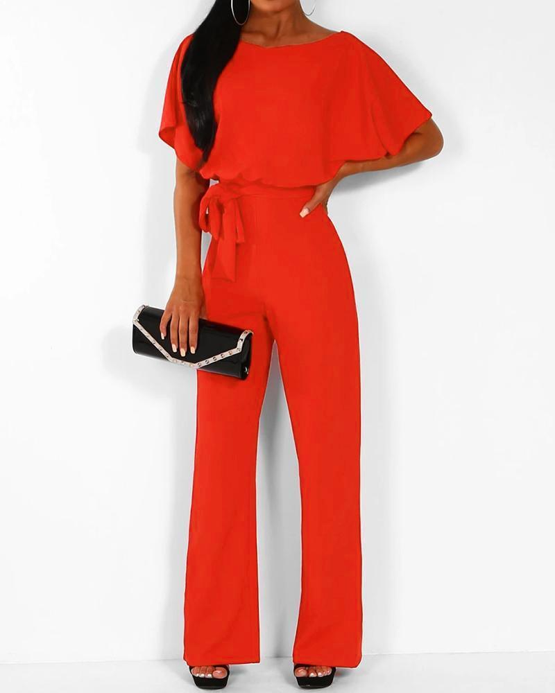 Exlura Lace Up Short Sleeve High Waist Wide Leg Red Jumpsuits