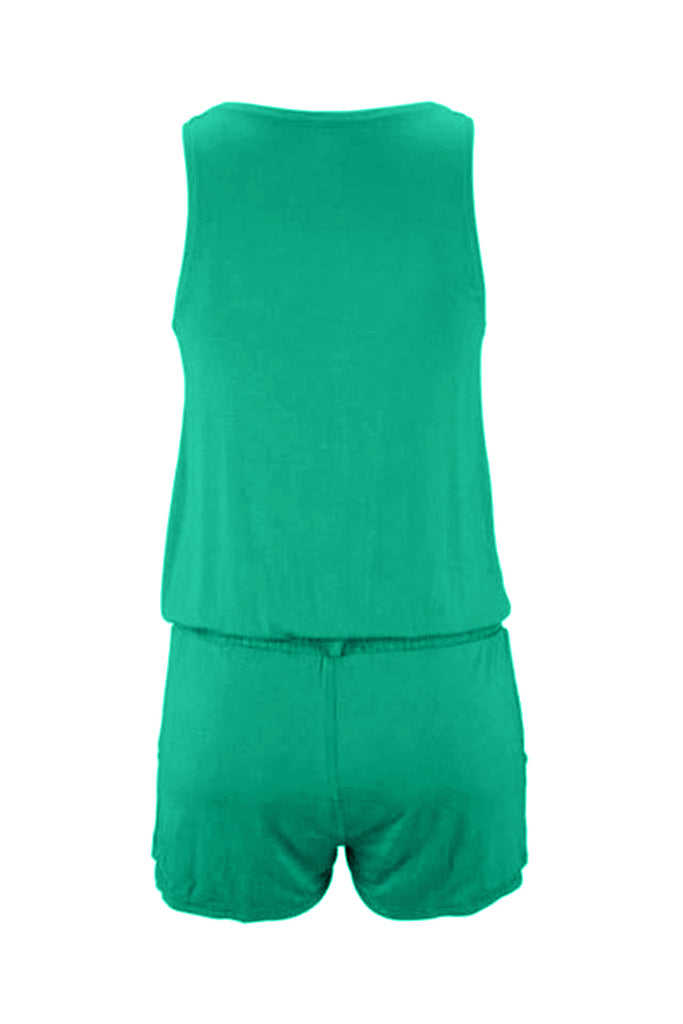 Sleeveless Solid Color Button Short Jumpsuit