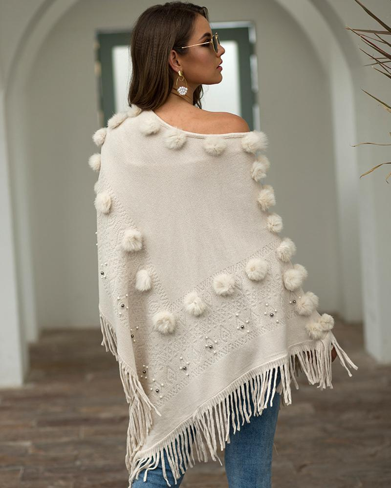 Exlura Hair Ball Round Neck Tassel Shawl