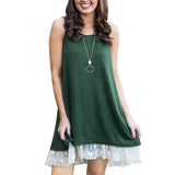 Sleeveless Lace Swing T-Shirt Dresses - Exlura