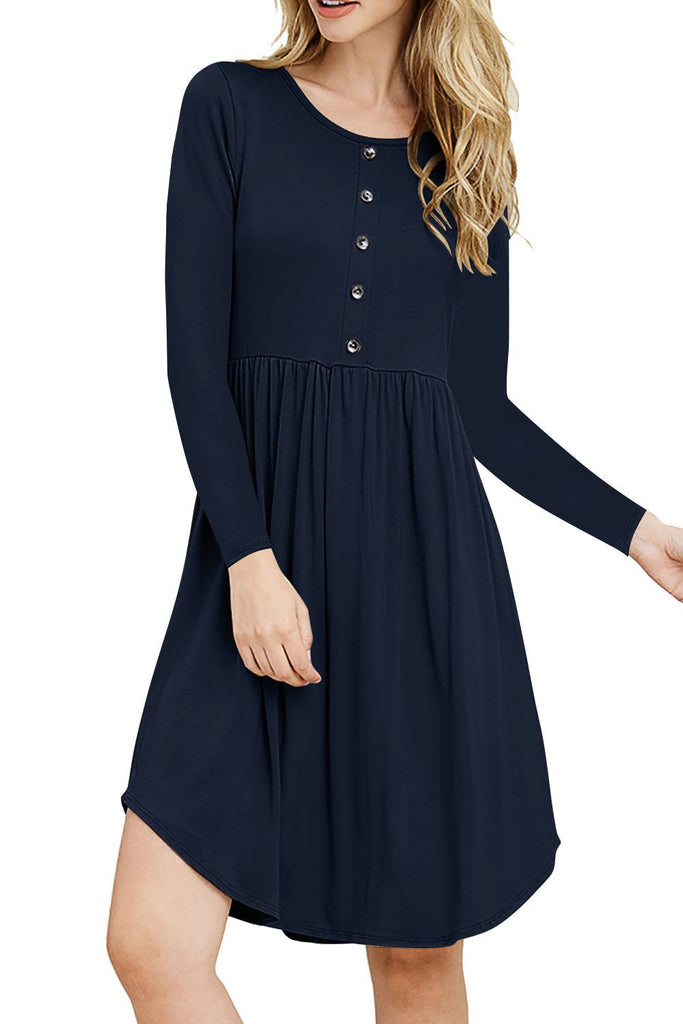 Button Down Pleated Swing Dress - Exlura