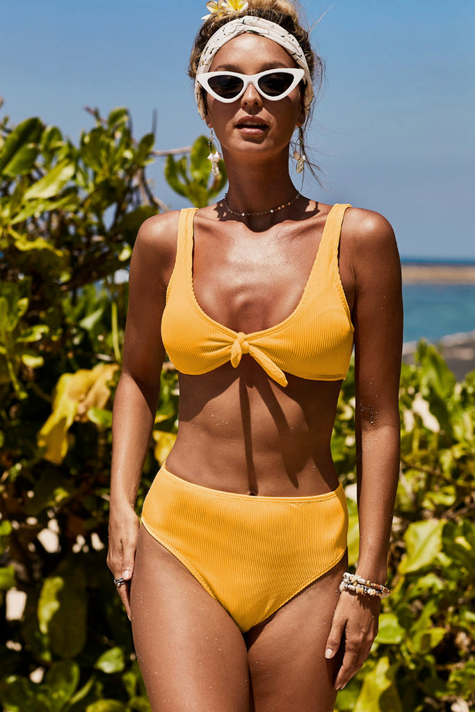 Knot Center Ribbed Vest Two-piece Swimwear