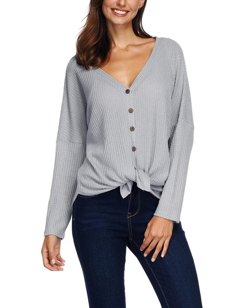Button Up Sweaters with Tie Front - Exlura