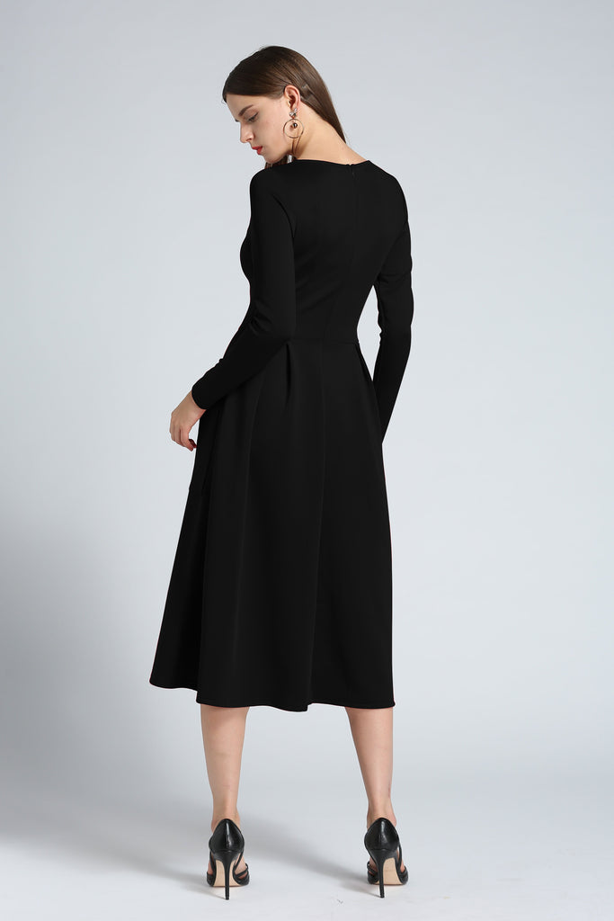 A-line high waist Midi Dress - Exlura