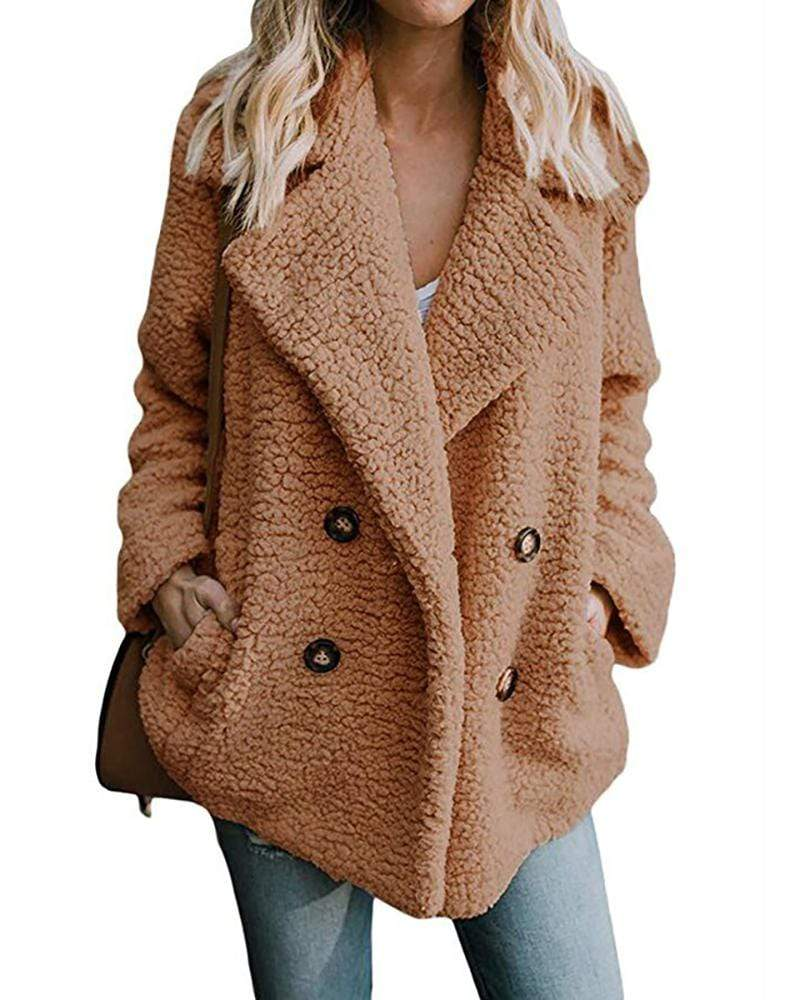 Exlura Plus Size Double Breasted Faux Fur Notched Collar Teddy Coat