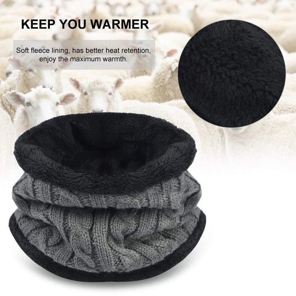 2-Pieces Scarf Set Warm Knit Hat - Exlura