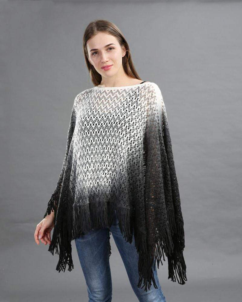 Dip Dye Knitted Poncho With Tassle Detail