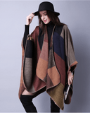 Vintage Check Pattern Reversible Shawl Cape - Exlura