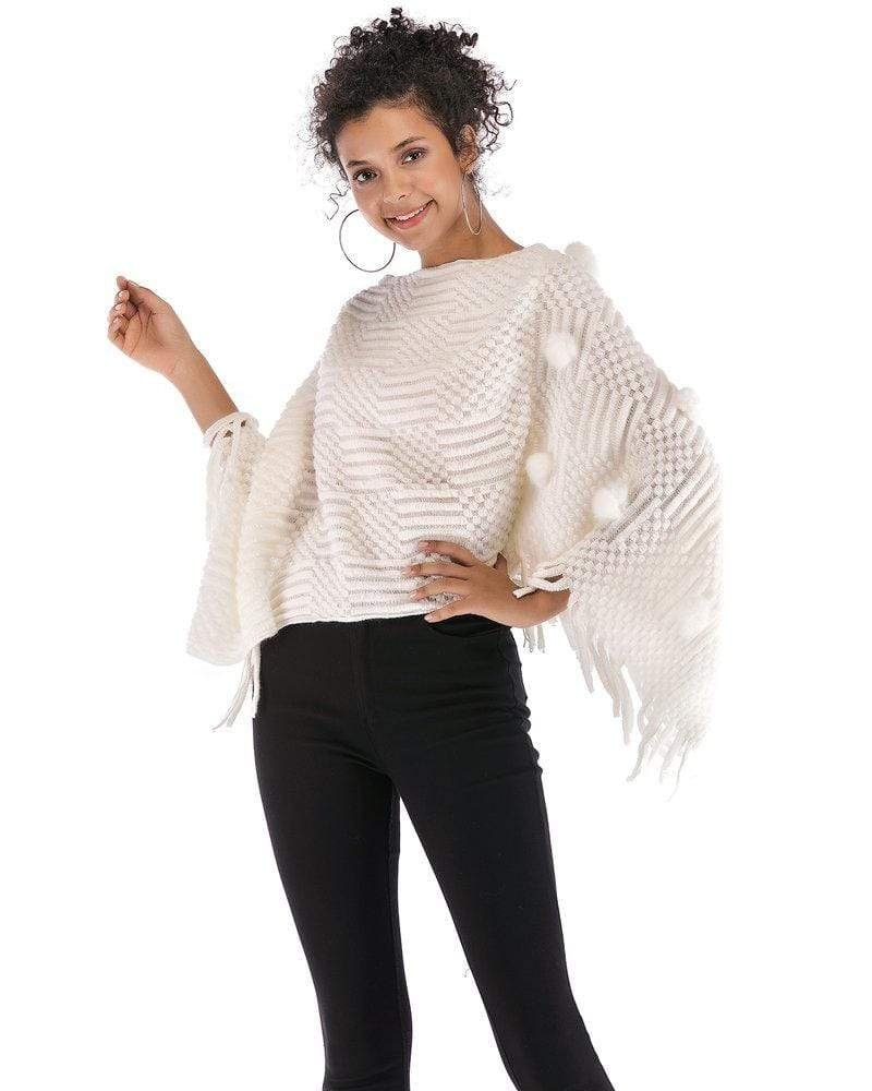 Batwing Sleeve Tassel Knitted Poncho