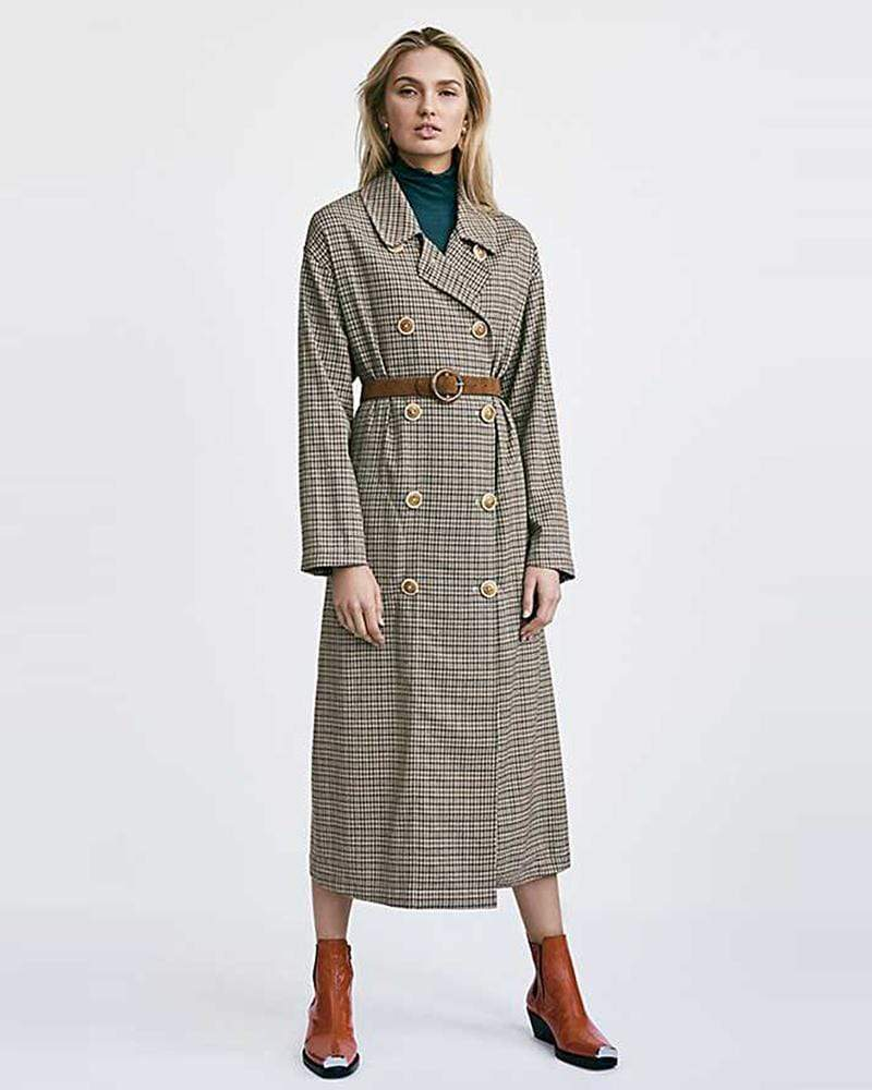 Exlura Double-breasted Asymmetrical Plaid Long Trench Coat (no belt)
