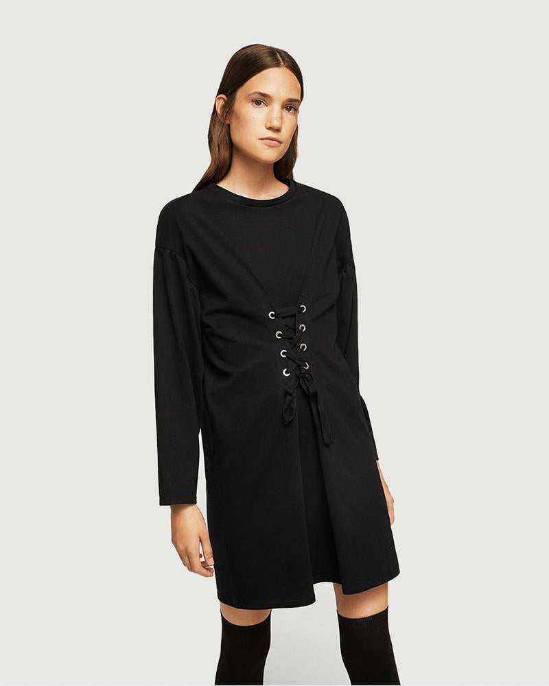 Lace-up Long Sleeve Solid Dress