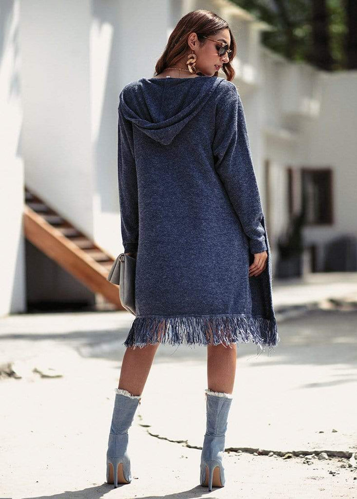 Tassel Shawl Heap Collar Casual Sweater Coat - Exlura