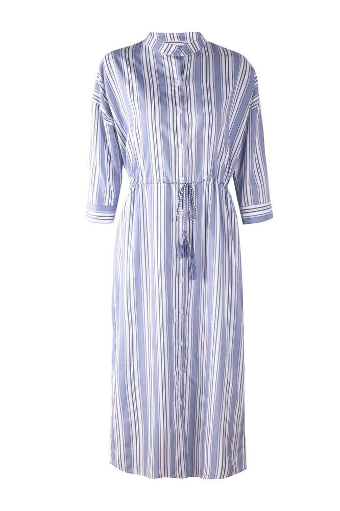 Mid-sleeve Stripe Printed Sexy Split Shirt Dress - Exlura