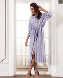 Mid-sleeve Stripe Printed Sexy Split Shirt Dress