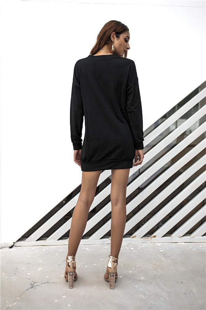 Metal Button Pullover Dress - Exlura