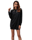 Metal Button Pullover Dress