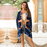Printed Open Front  Beach Cardigans - Exlura