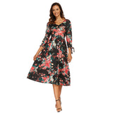 Floral Print 3/4 Sleeve V-Neck Dress - Exlura
