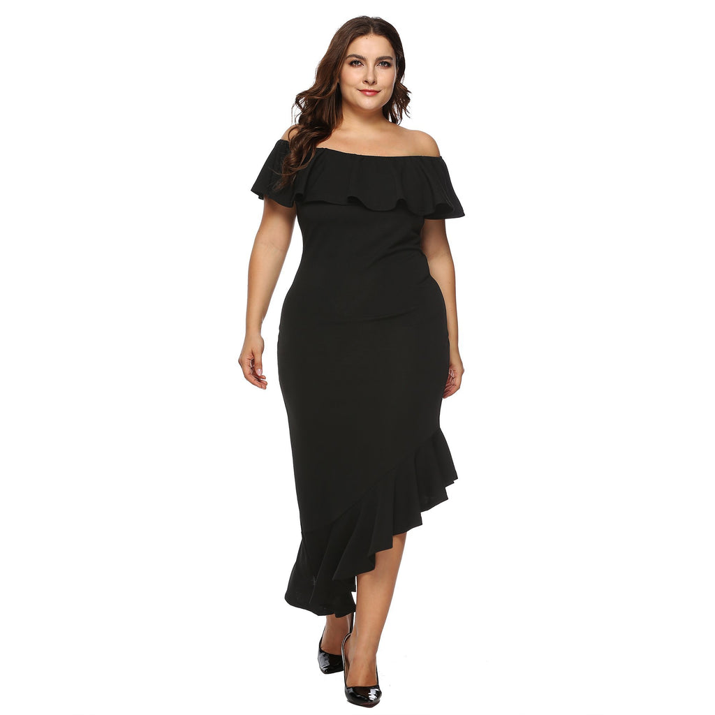 Off Shoulder Ruffle Hem Elegant Maxi Dress - Exlura