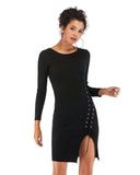 Knitted Split Lace Knit Dress
