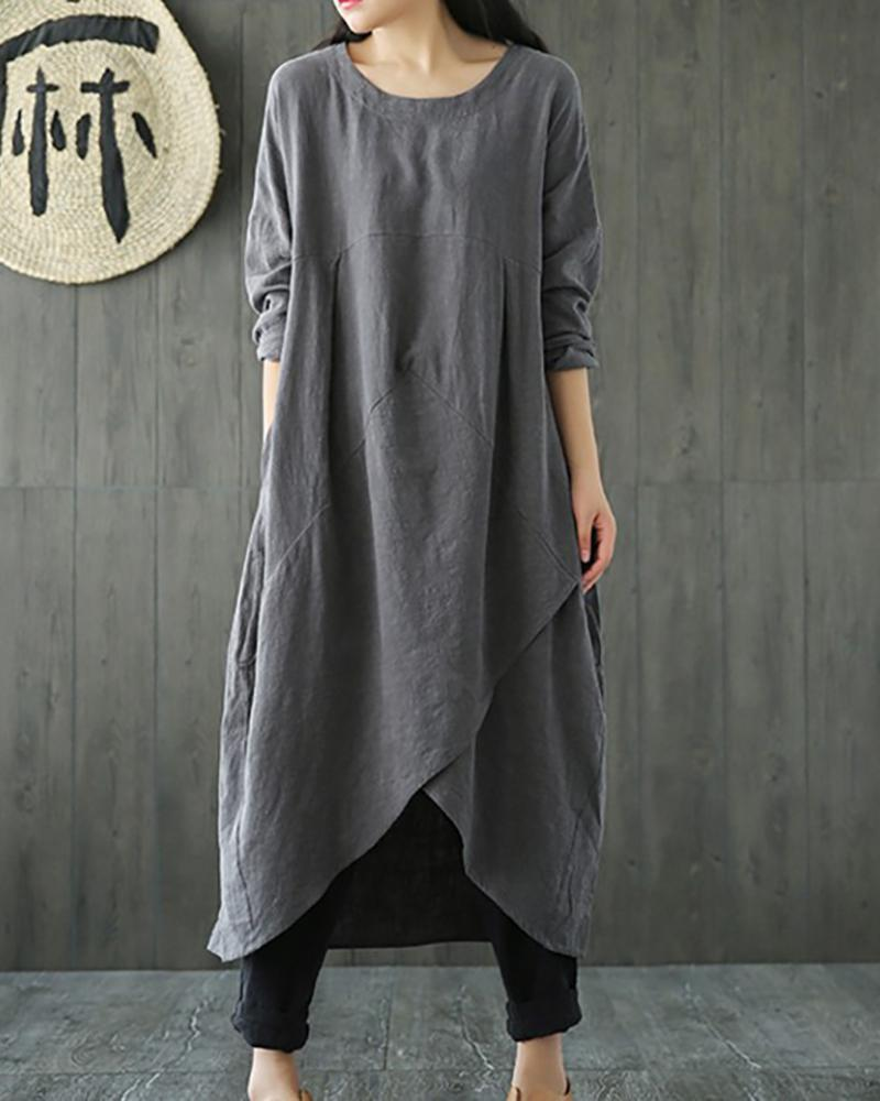Loose Cotton and Linen Pocket Dress With Asymmetrical Hem