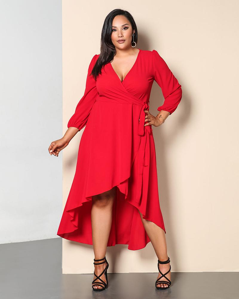 High Wasit Irregular V neck Party Dress