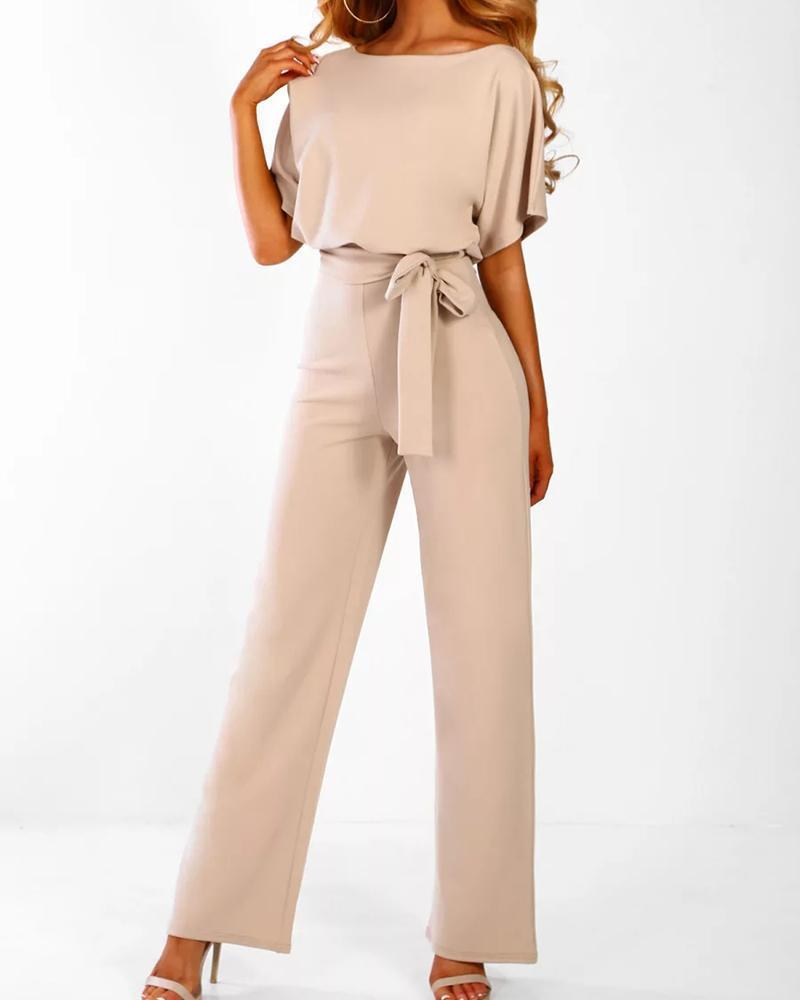 Exlura Lace Up Short Sleeve High Waist Wide Leg  Apricot Jumpsuits