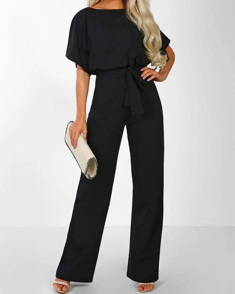 Exlura Lace Up Short Sleeve High Waist Wide Leg  Black Jumpsuits