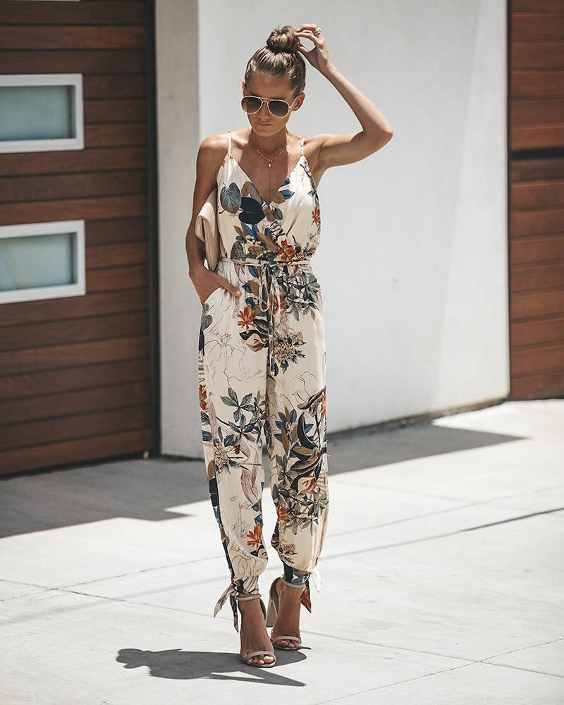 Lace Up Sling V-neck Pocket Jumpsuit
