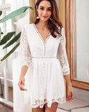 Lace Stitching Embroidered 3/4 Sleeve Solid Holiday Dress