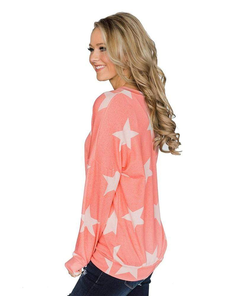 Exlura Women's Long Sleeve Star Print
