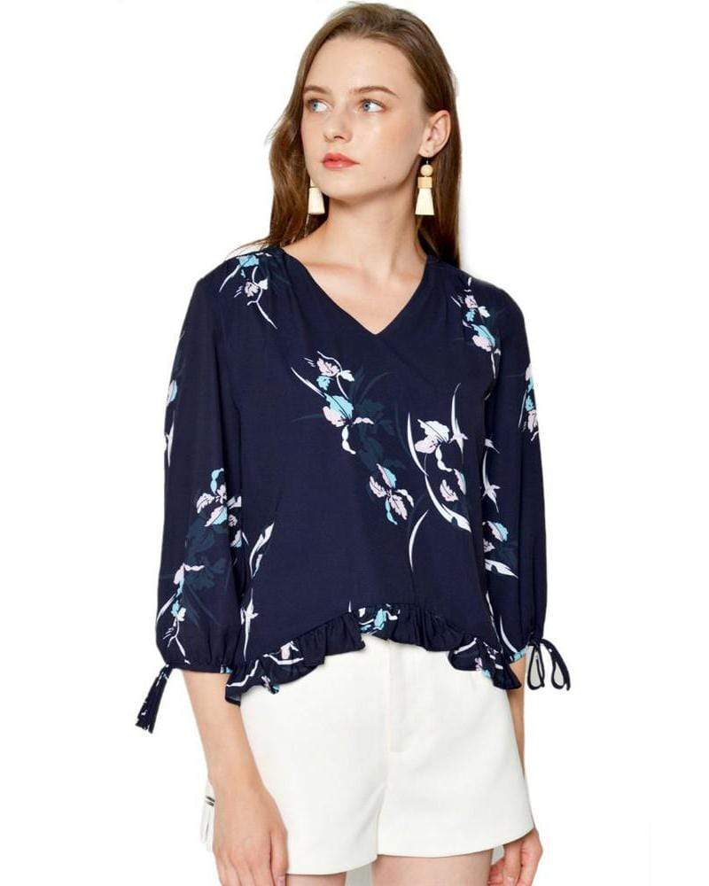 V-Neck Printed Chiffon Shirt