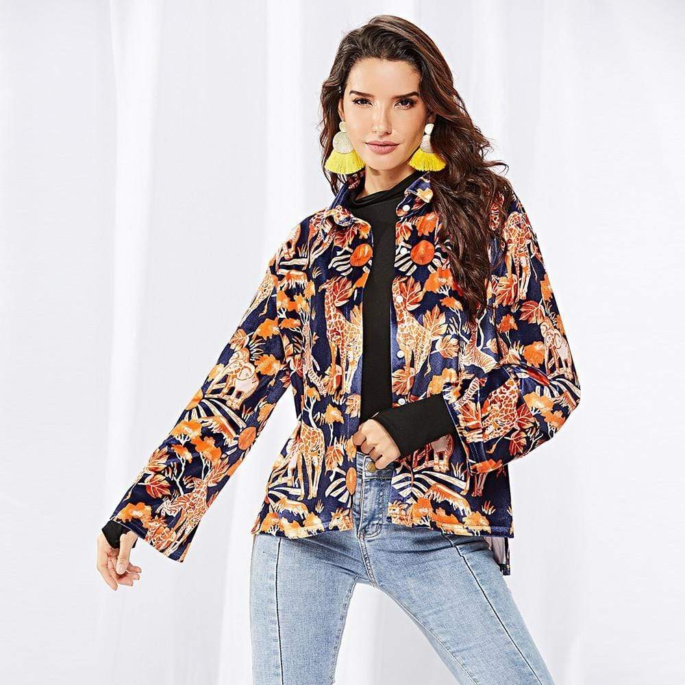 Women Printed Single-Breasted Lapels Coat - Exlura