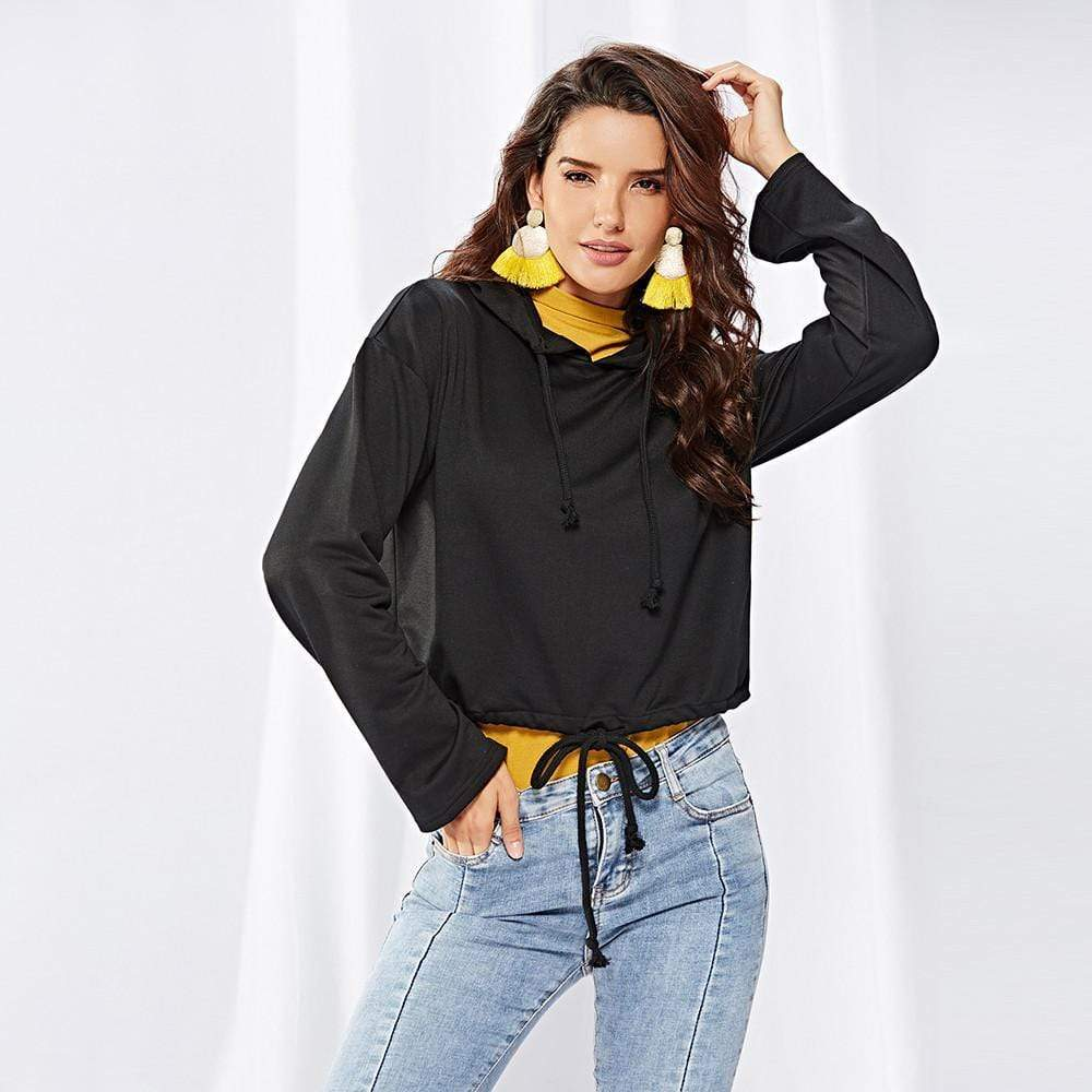 Women Long Sleeve Black Hoodies Sweater - Exlura