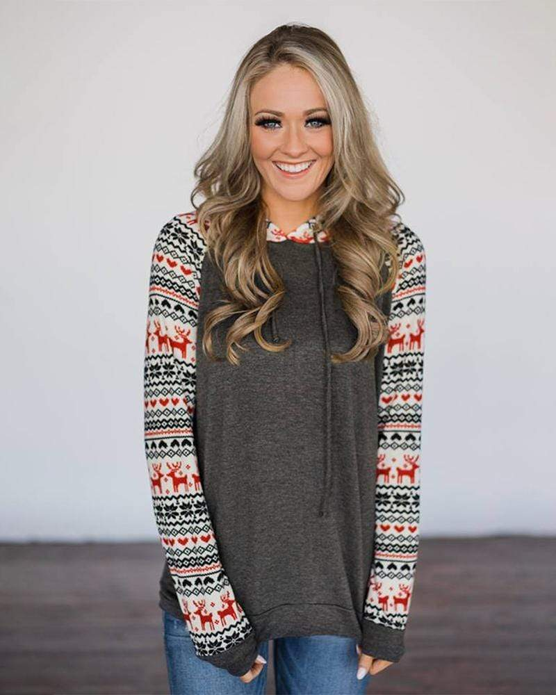 Christmas Reindeer Printed Long Sleeve - Exlura
