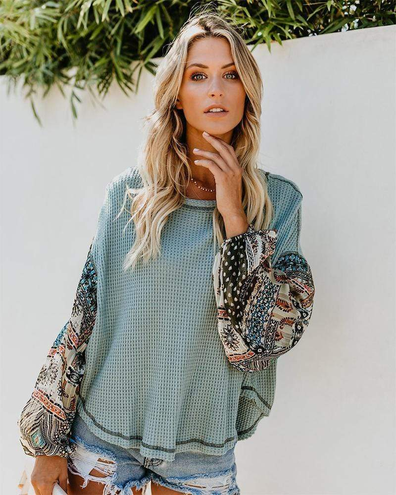 Floral Print Knitted Round Neck Top - Exlura