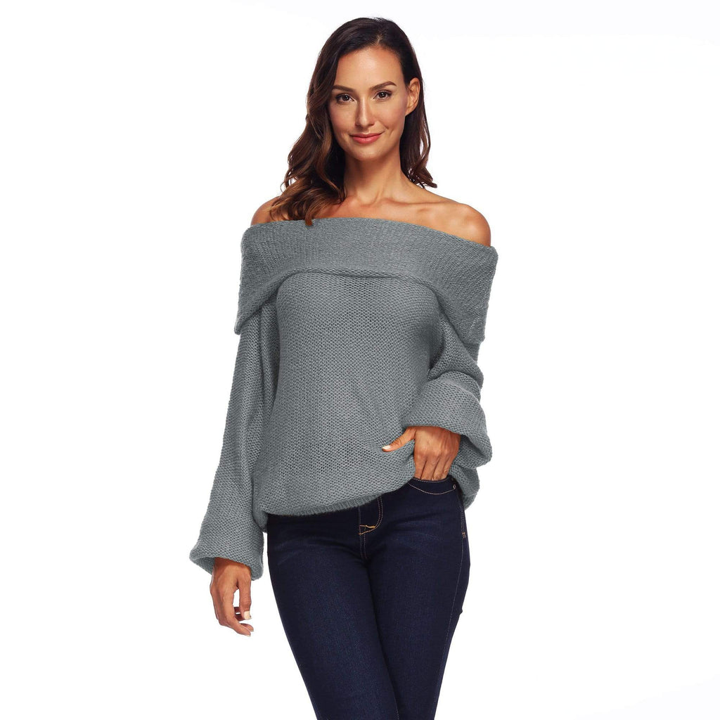 Off The Shoulder Long Sleeve Pullover Sweater - Exlura
