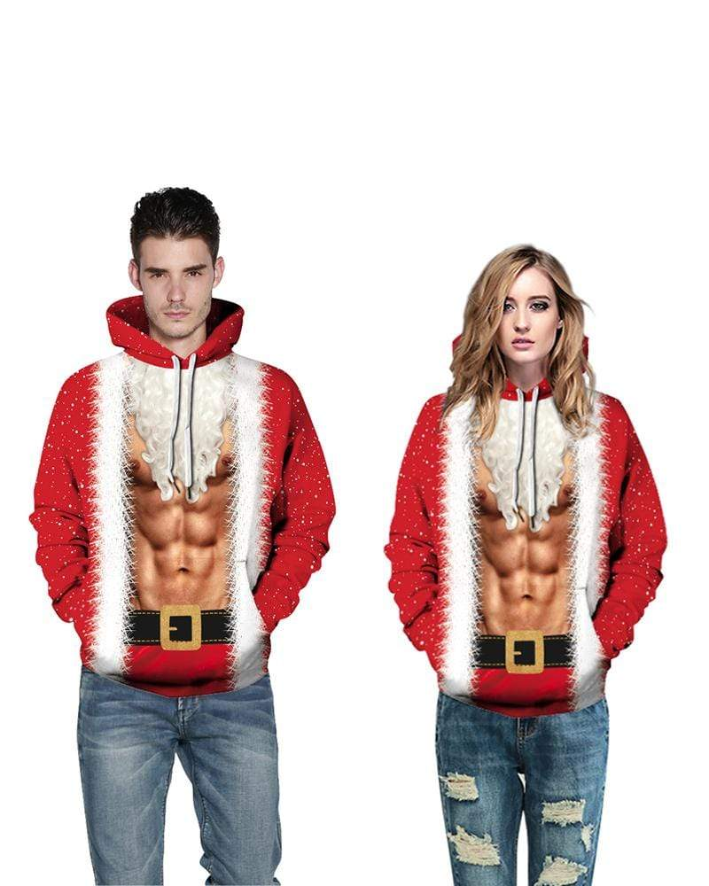 Exlura Unisex Print Muscle 3D Christmas Hooded Pullover