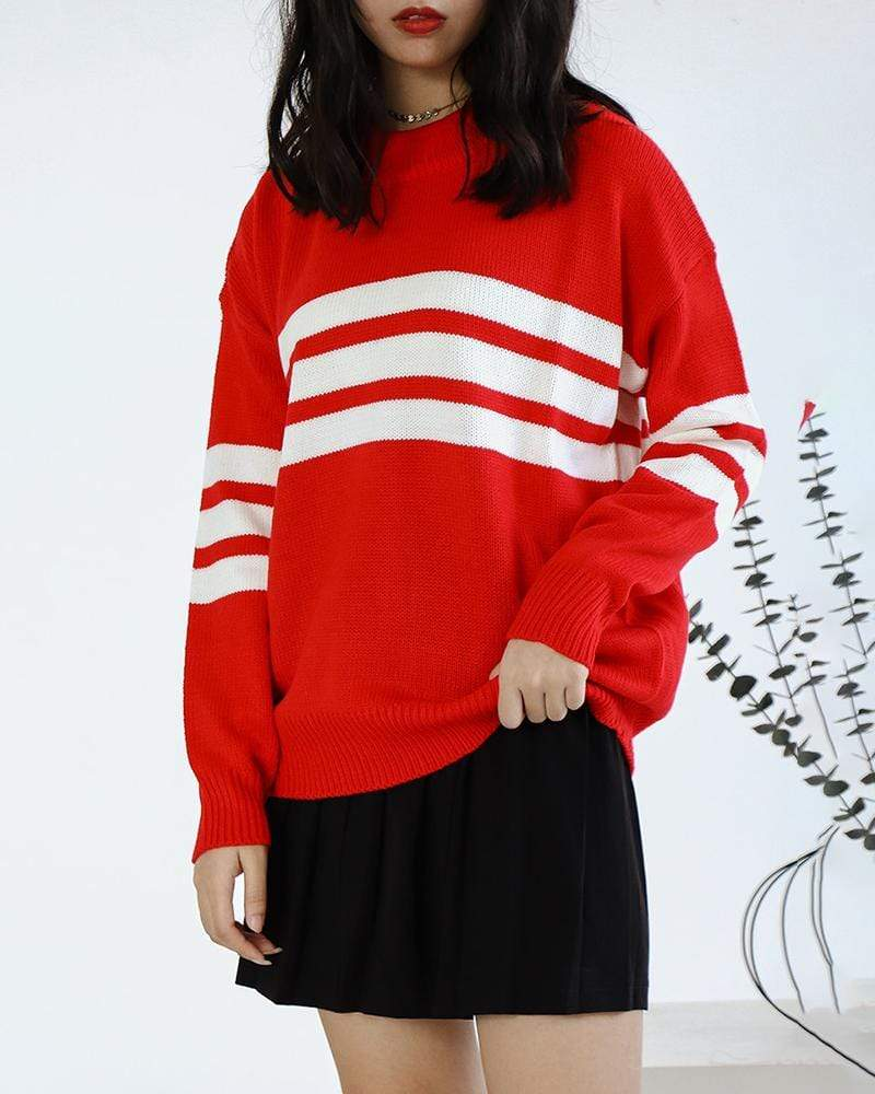 Striped Sweaters Hit Color Loose Pullovers