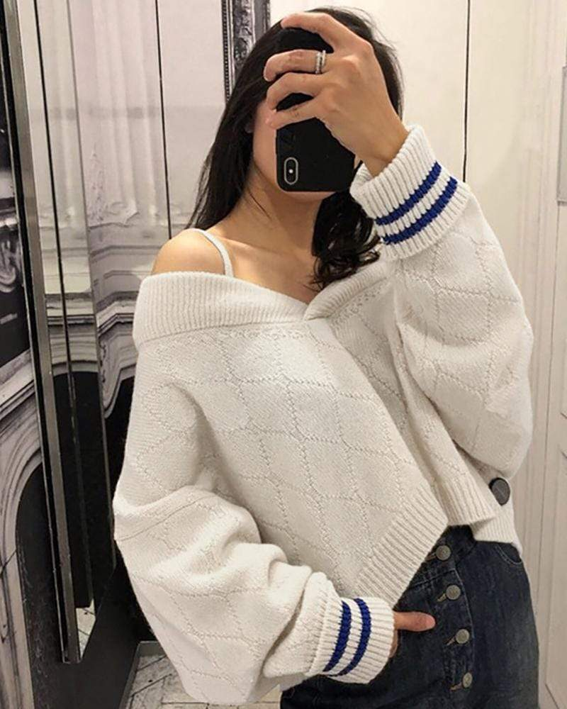 Off Shoulder Oversized Knitted Sweater