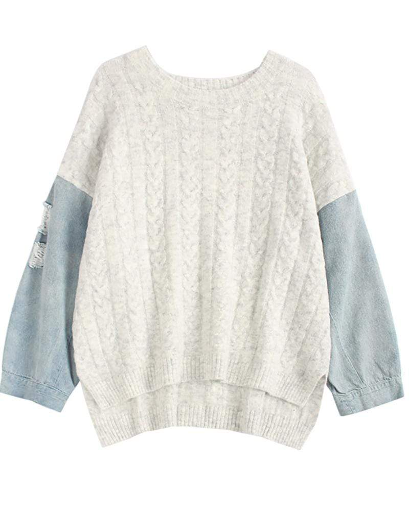 Denim Patchwork Irregular Sweater