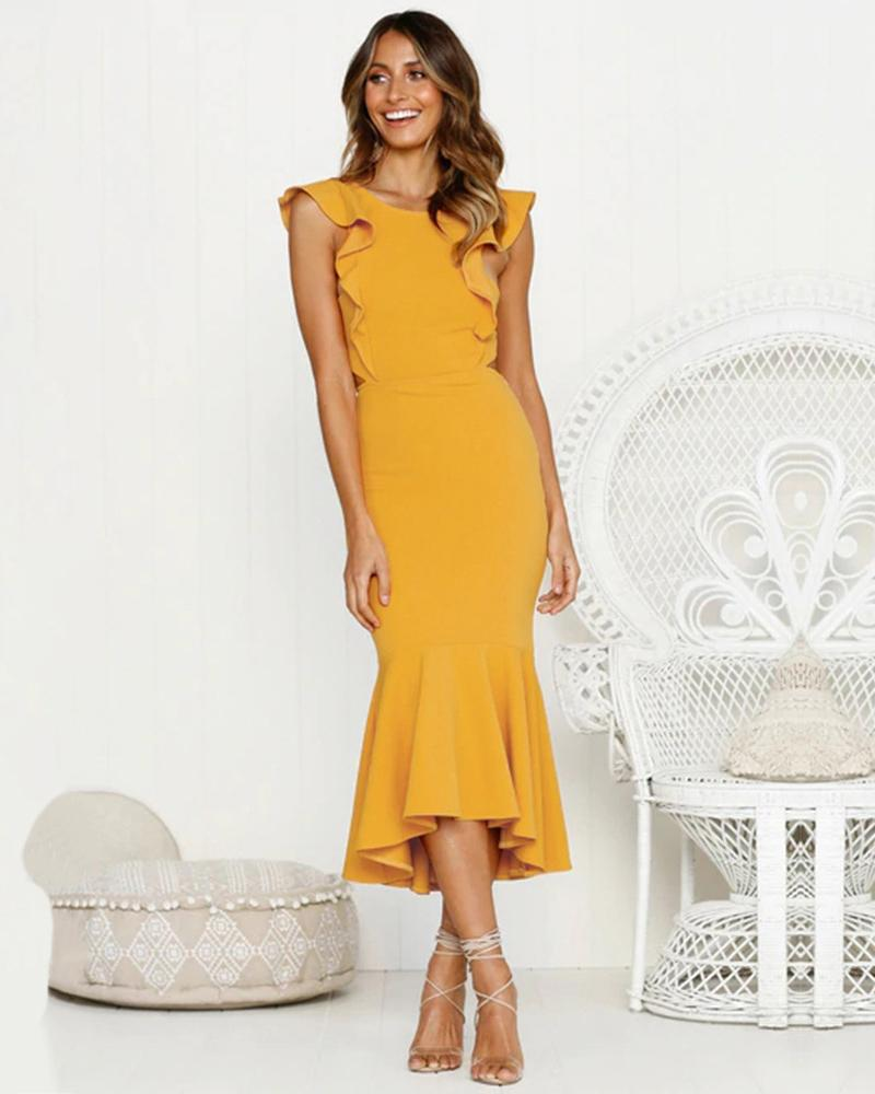 Wrapped Chest Backeless Ruffled Dress