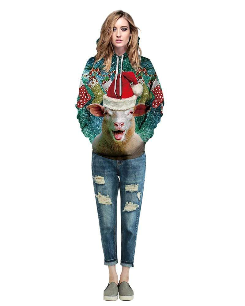 Exlura Unisex Funny Sheep Print Christmas Hooded Pullover