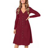 V Neck Button Down Midi Skater Dress - Exlura