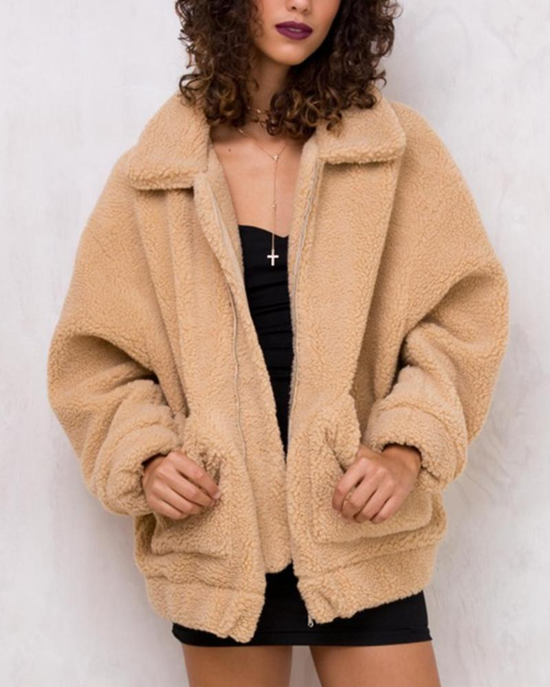 Women's Zipper Faux Fur Teddy Coats