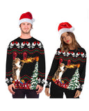 Exlura Men Women Ugly Christmas Sweatshirts Funny 3D Printed Long Sleeve Crew Neck Pullover Xmas Party