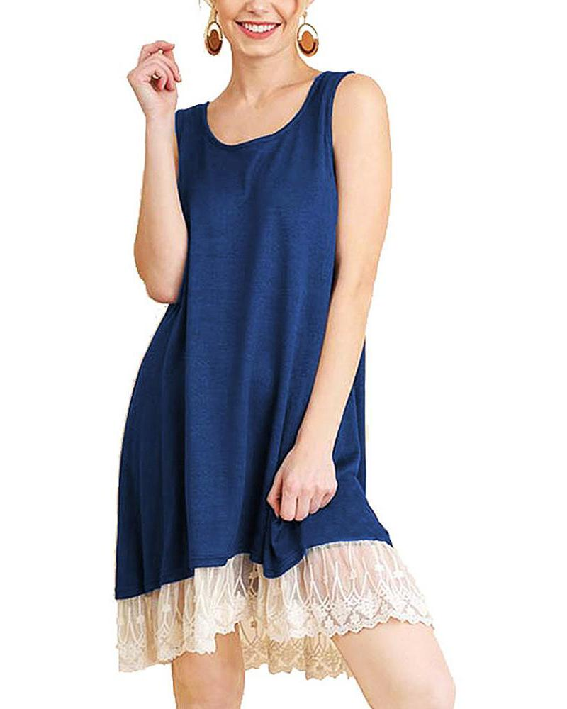 Sleeveless Lace Swing T-Shirt Dresses