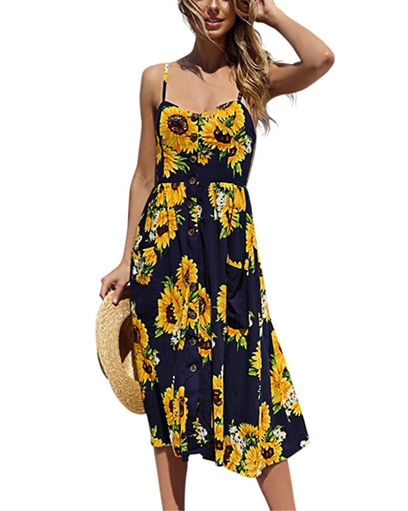 Casual Floral  Sleeveless Holiday Dress