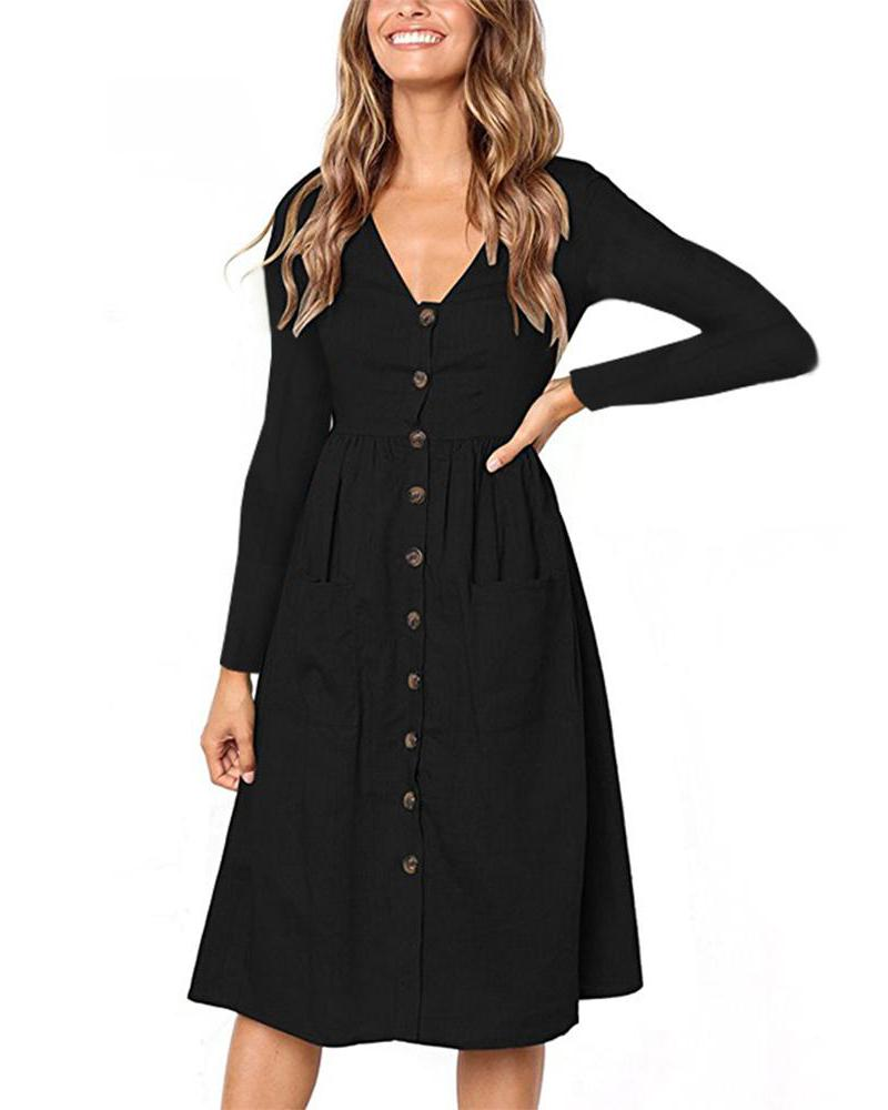 V Neck Button Down Midi Skater Dress